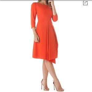 Kay Unger Asymmetrical Pleated dress
